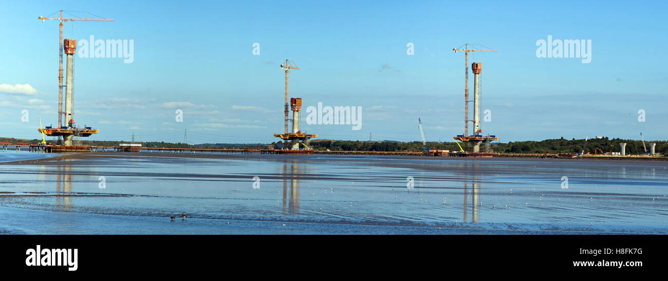 Panorama of new Mersey gateway bridge,being built, Runcorn, Cheshire, England,UK Stock Photo