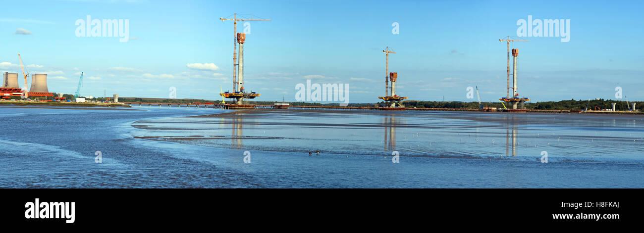 Panorama of new Mersey gateway bridge,being built, Runcorn, Cheshire, England,UK - Stock Image