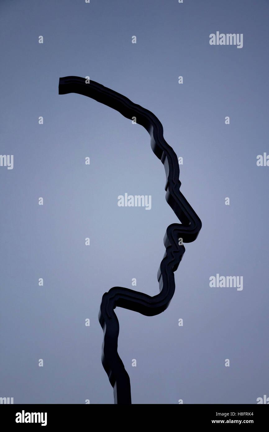 Sculpture, profile, monument, Berlin - Stock Image