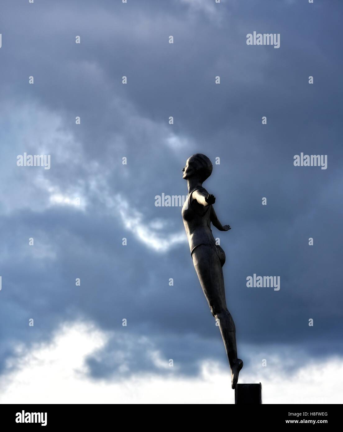The Diving Belle bronze Sculpture Scarborough.North Yorkshire England UK - Stock Image