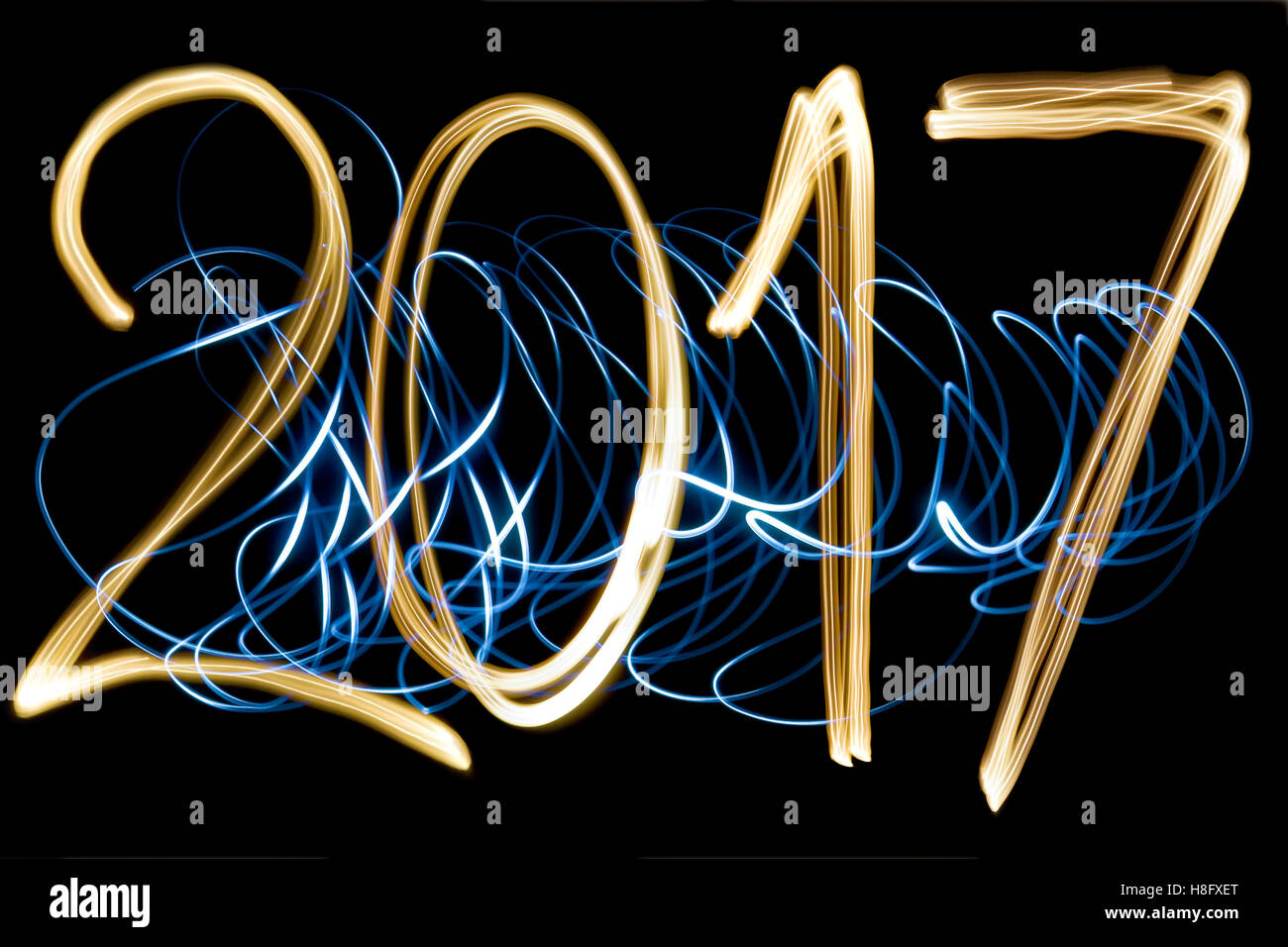 light painting year 2017 - Stock Image