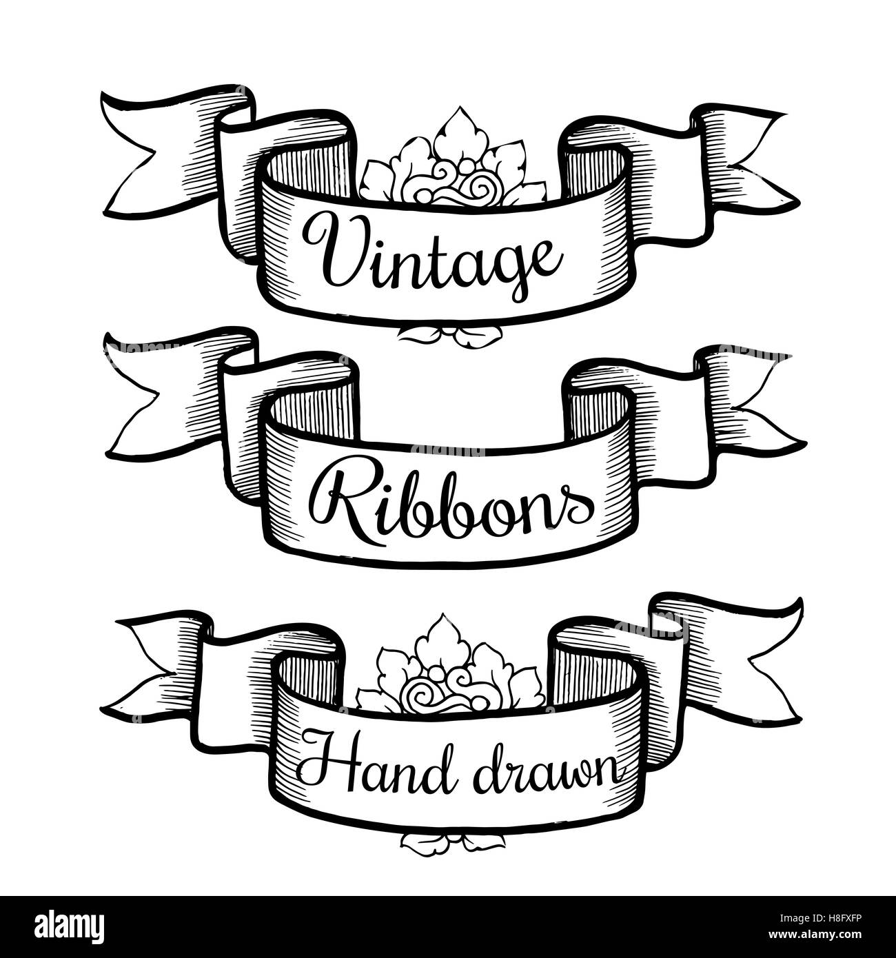 Old Hand Drawn Banner To Scrapbook Or Design In Vectorcollection Of