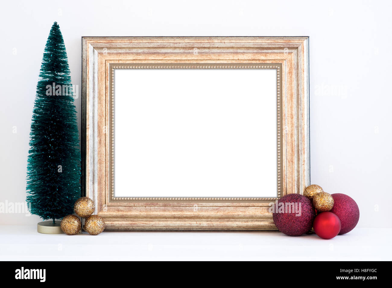 Christmas styled mockup landscape frame, with christmas decorations ...