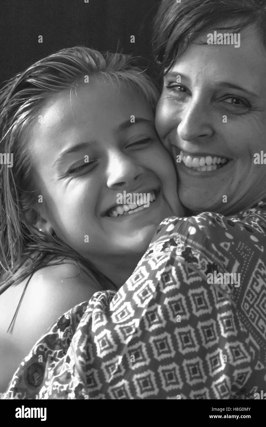Smiling Happy Family, mother and daughter - Stock Image