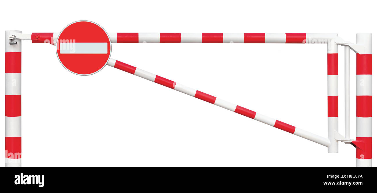 Gated Road Barrier Closeup, No Entry Sign Roadway Gate Bar In Bright White And Red Traffic Stop Block And Vehicle - Stock Image