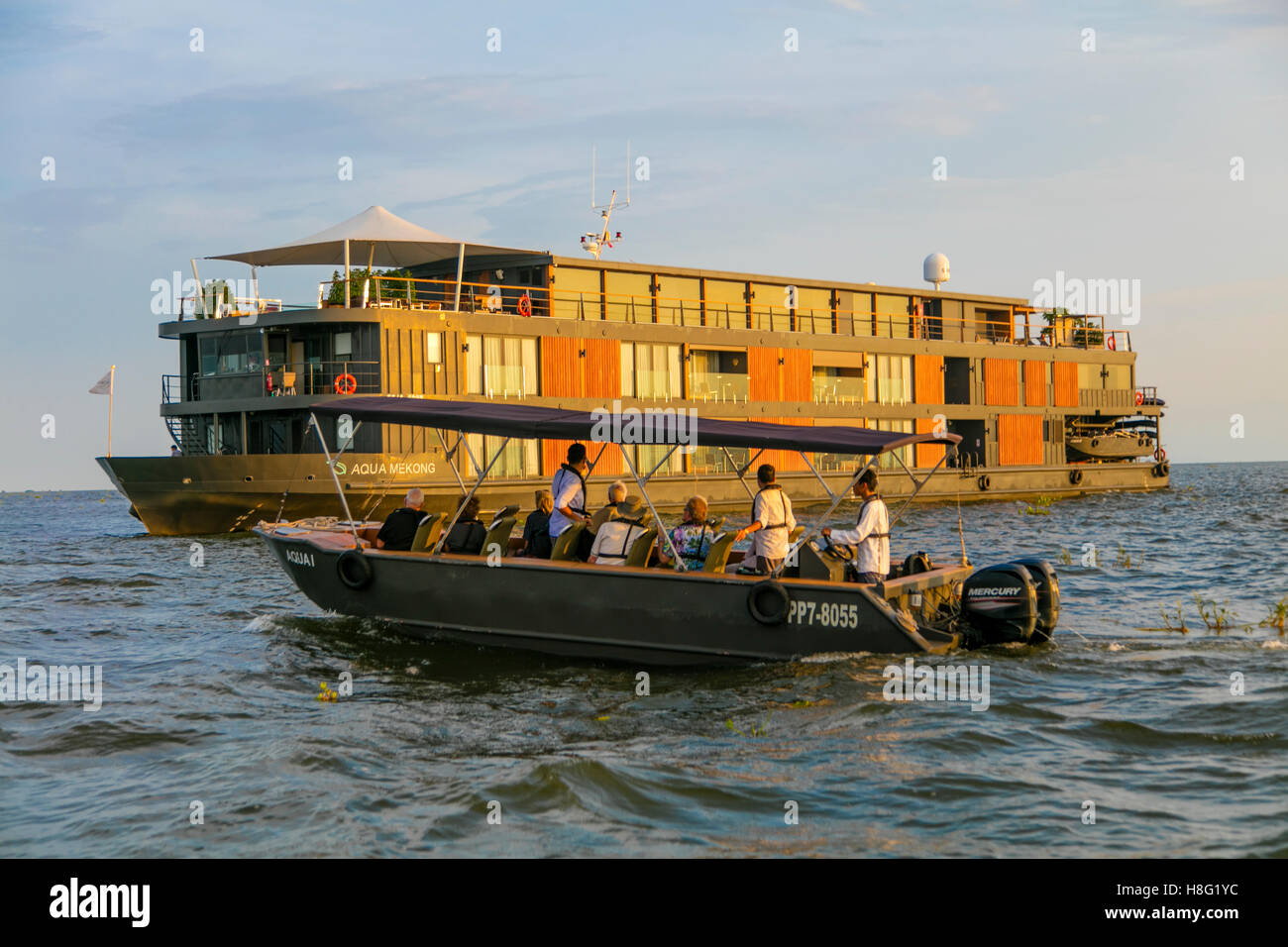 Aqua Expeditions, Tonle Sap and Mekong River Cruise, Cambodia to Vietnam - Stock Image