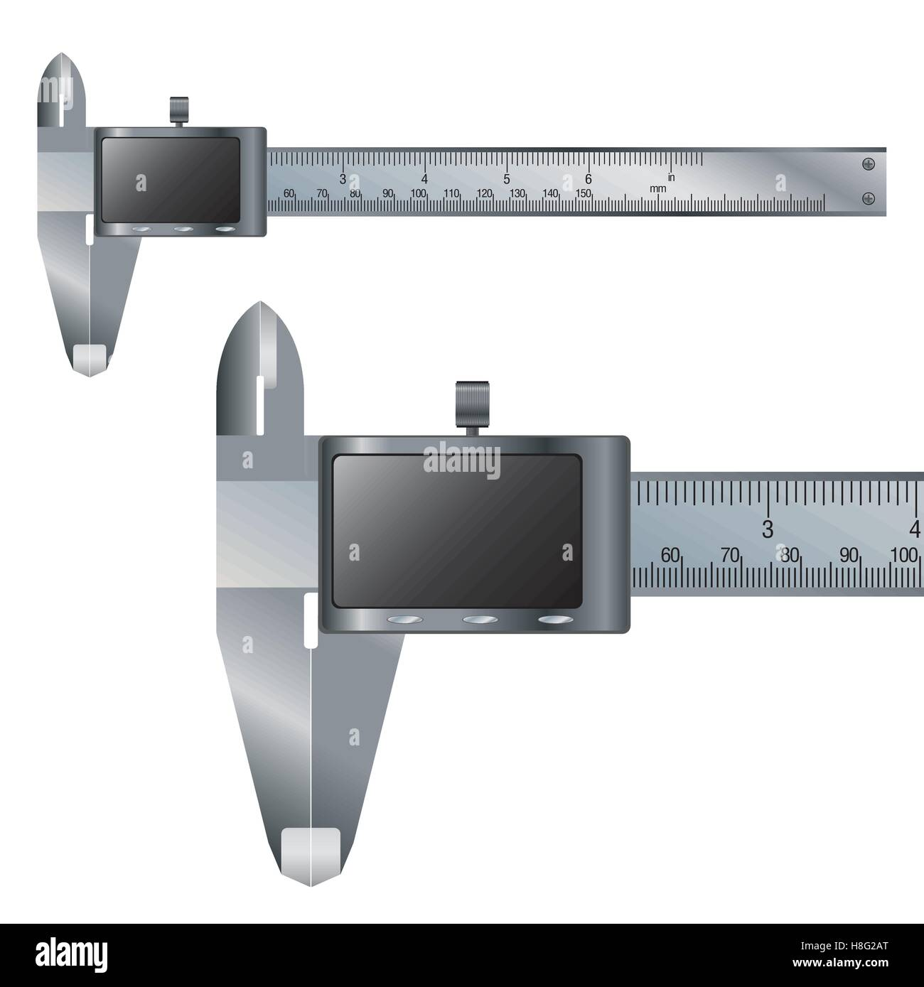 caliper, vernier, vector, scale, meter, object, technology, metal, equipment, isolated, steel, tool, instrument, - Stock Image
