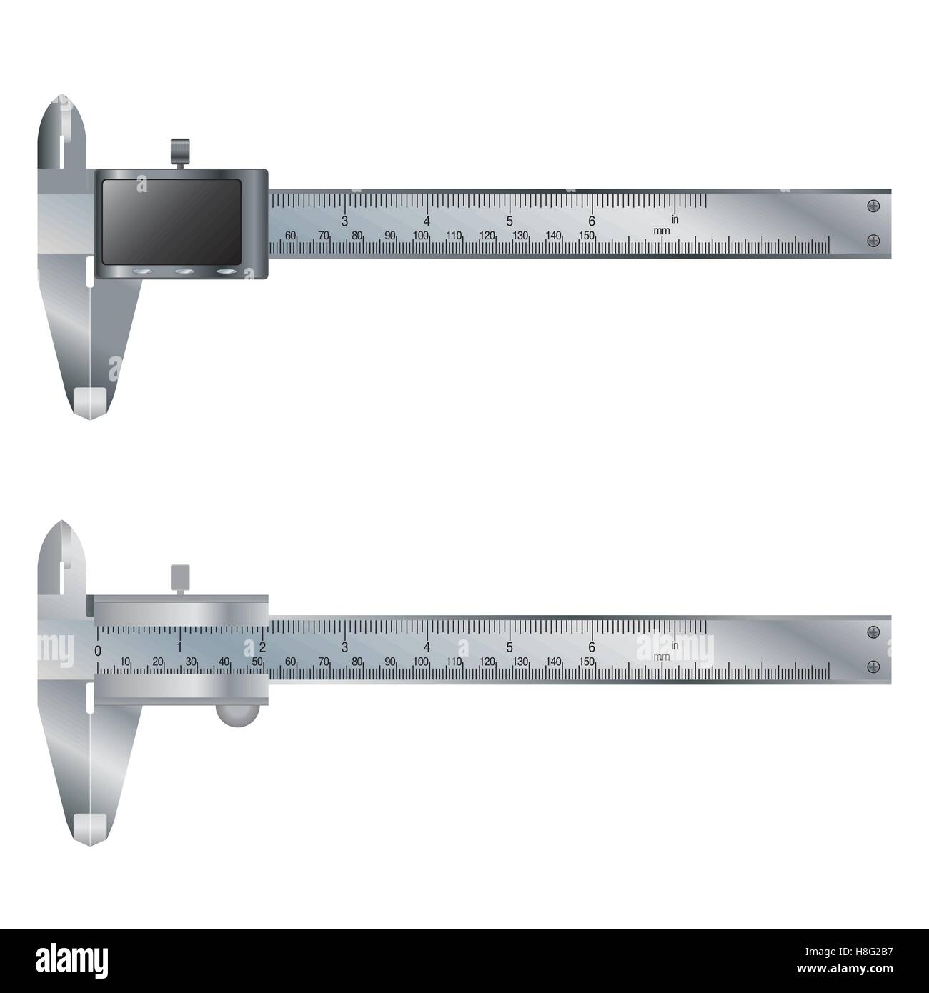 caliper, vernier, vector, scale, meter, white background, object, technology, metal, equipment, isolated, steel, - Stock Image