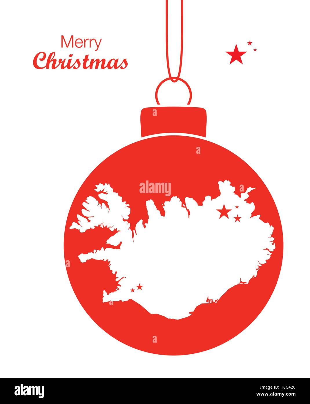 Merry Christmas Map Iceland Stock Vector Art & Illustration, Vector ...