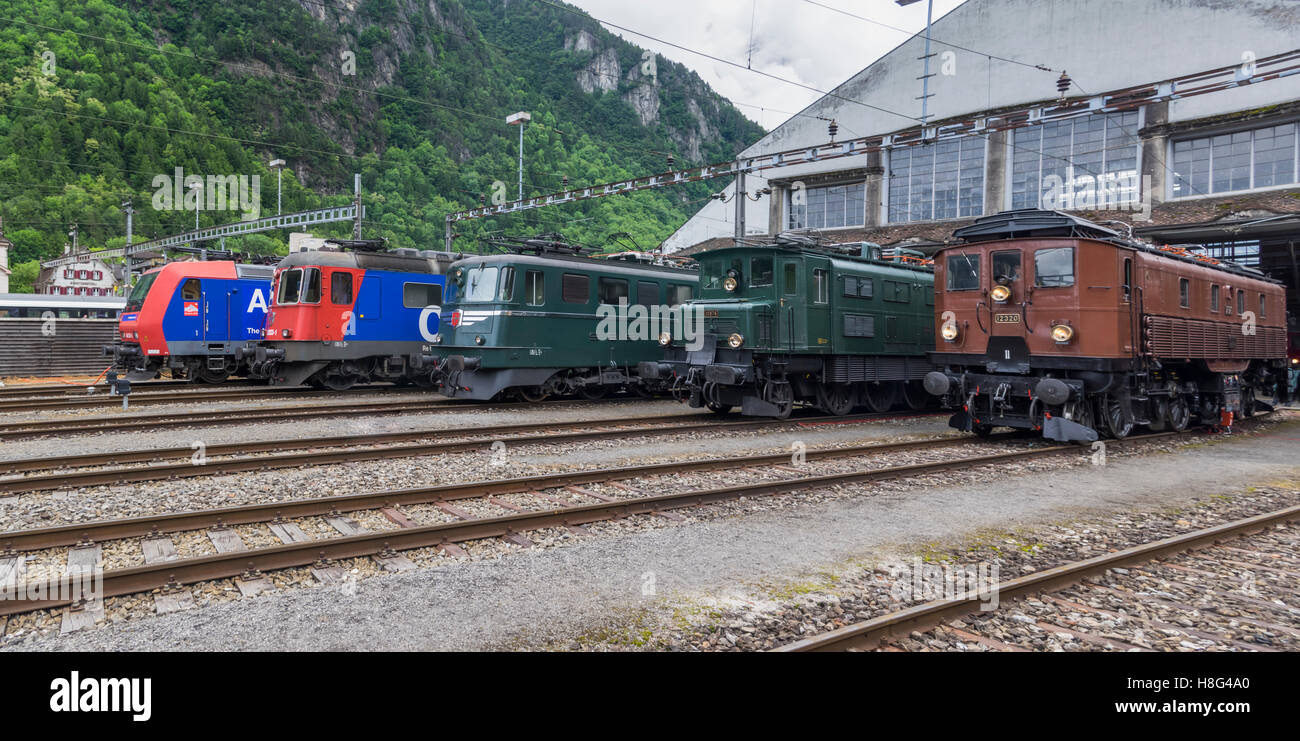 Line-up of modern and historic electric locomotives of SBB, the Swiss Federal Railways. Stock Photo