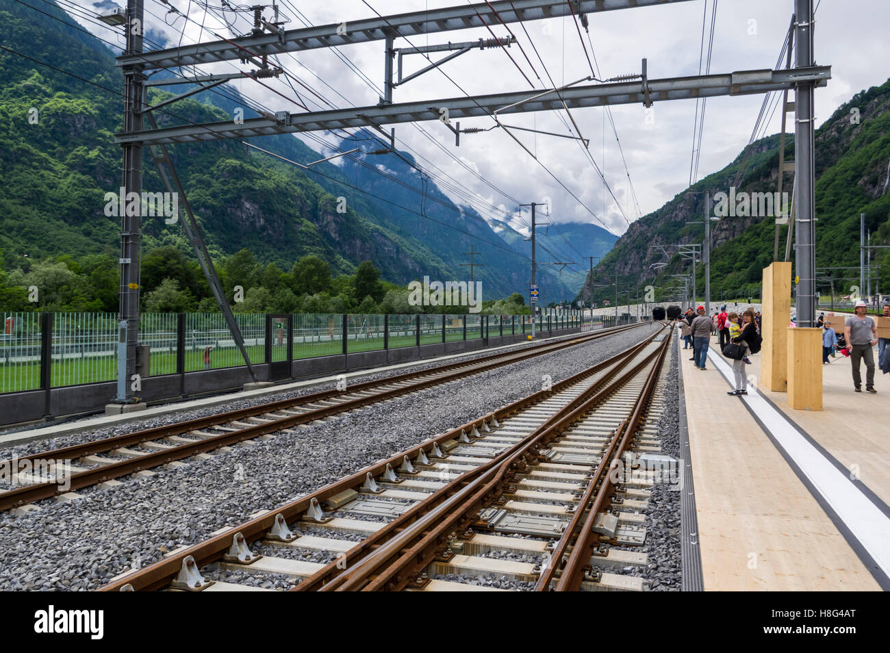 South portal of the 57km long Gotthard base tunnel. Pollegio, Ticino, Switzerland. At the time of its inauguration - Stock Image