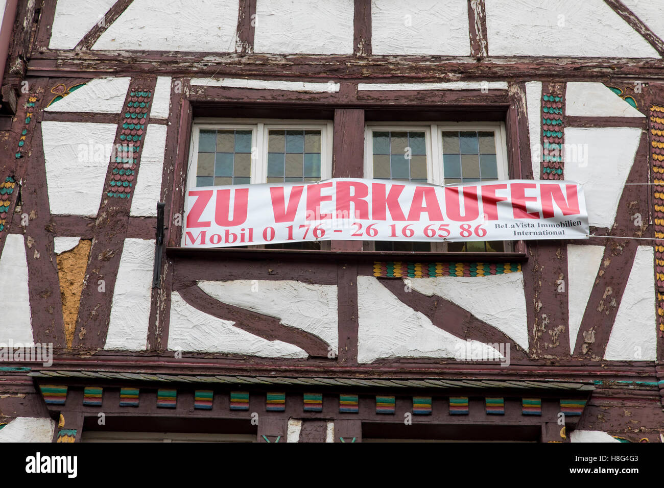Moselle valley, city of Bernkastel-Kues, Germany, historic  old town, facade, house for sale, half timbered house, - Stock Image