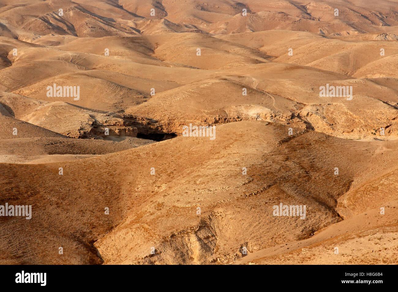 Mountainous Judean desert landscape near Jericho, Israel - Stock Image