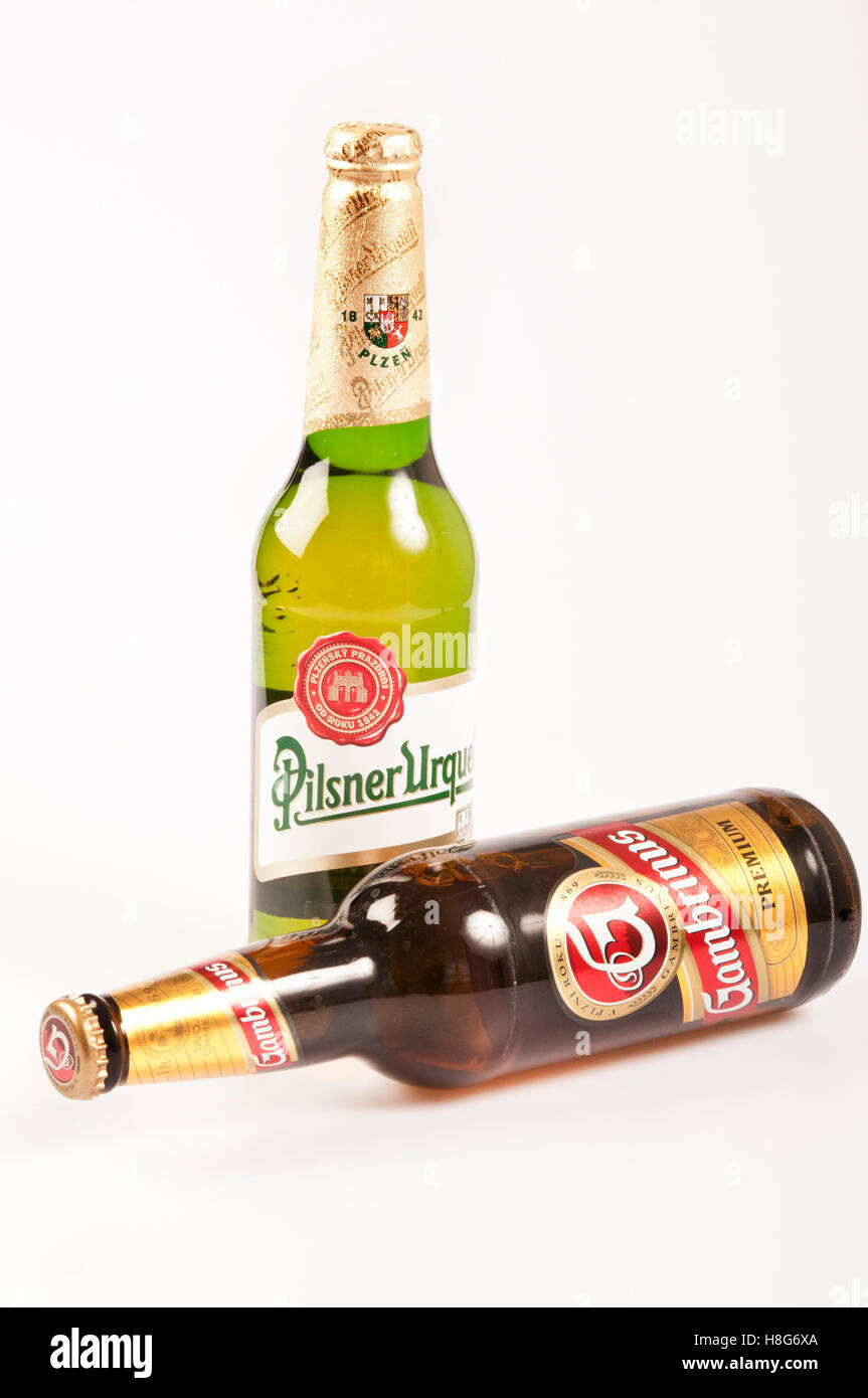 two bottles of Czech beers - Stock Image