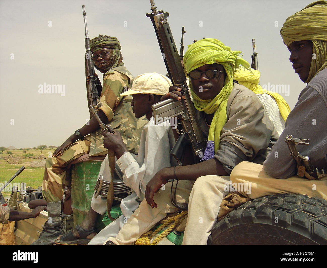 31st August 2005 Heavily armed SLA fighters near the village of Bir Meza, 50 km north-west of Kutum in northern Stock Photo