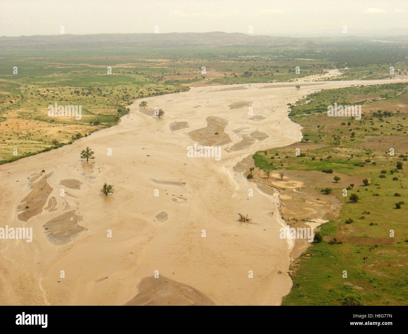 4th September 2005 A flooded wadi, a river in the desert, between Kutum and El Fasher in northern Darfur, Sudan. Stock Photo
