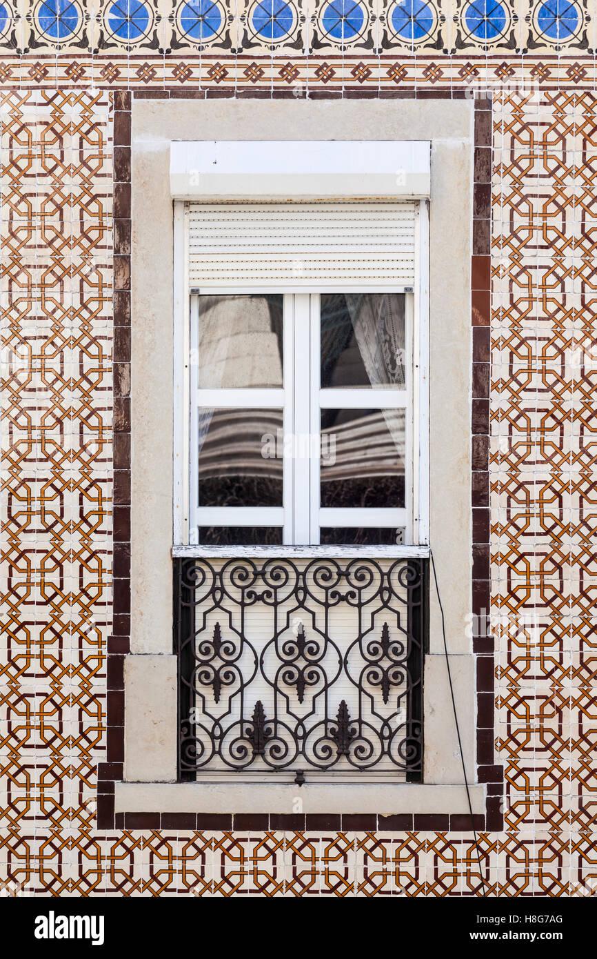 Azulejos glazed tiles in Lisbon, Portugal. - Stock Image