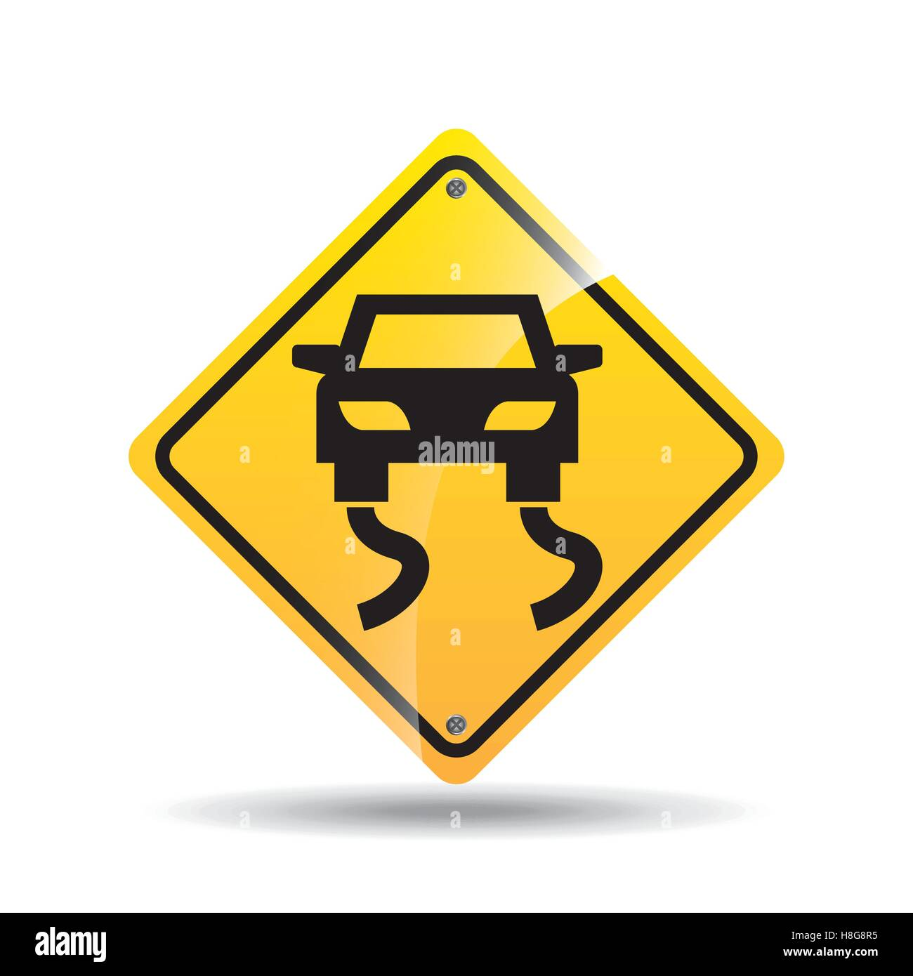 road sign slippery car icon vector illustration eps 10 - Stock Image