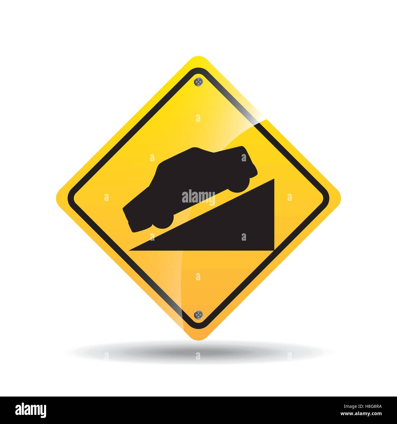 road sign steep decline icon vector illustration eps 10 - Stock Image