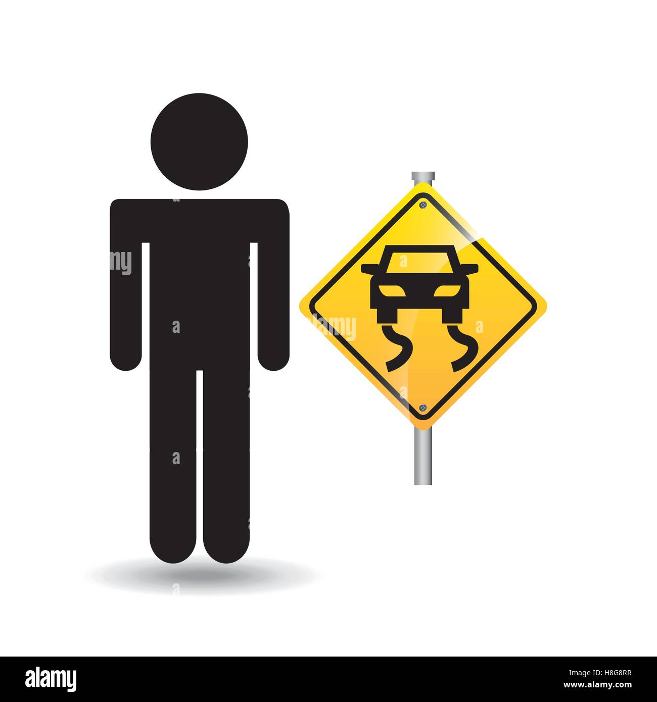 road sign slippery silhouette man vector illustration eps 10 - Stock Image
