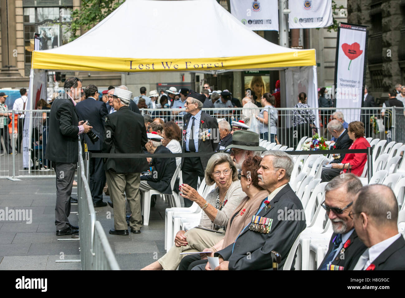 Veterans at the Remembrance Armistice Day service in Martin Place,Sydney,Australia - Stock Image