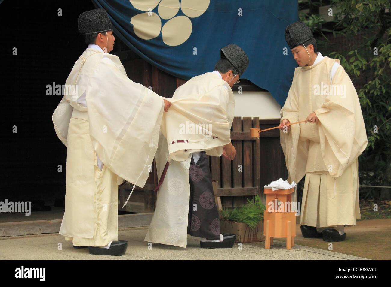 Japan, Kyoto, Zuiki festival, shinto priests, purification ceremony, - Stock Image