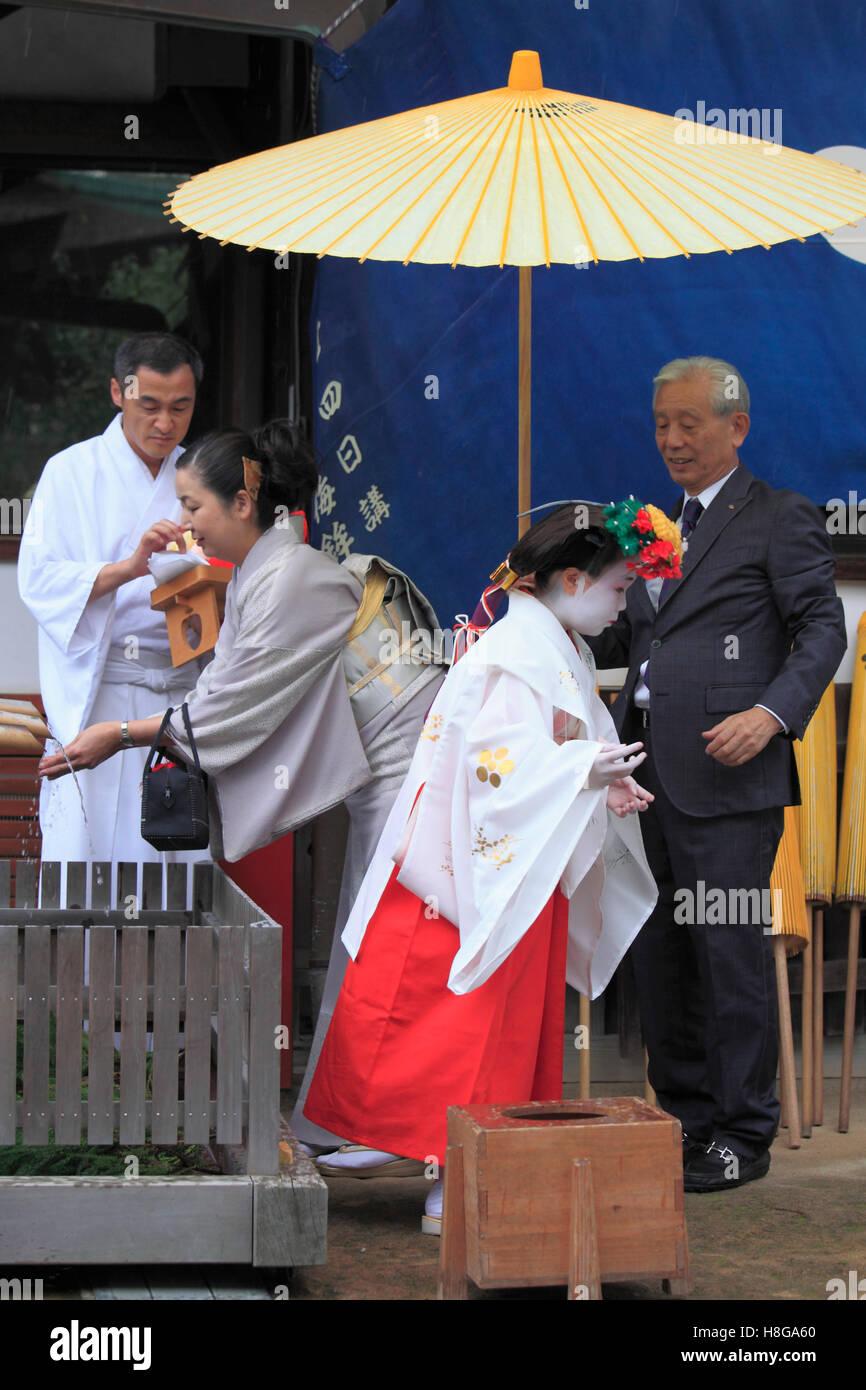 Japan, Kyoto, Zuiki festival, purification ceremony, Kitano Tenmangu Shrine, - Stock Image