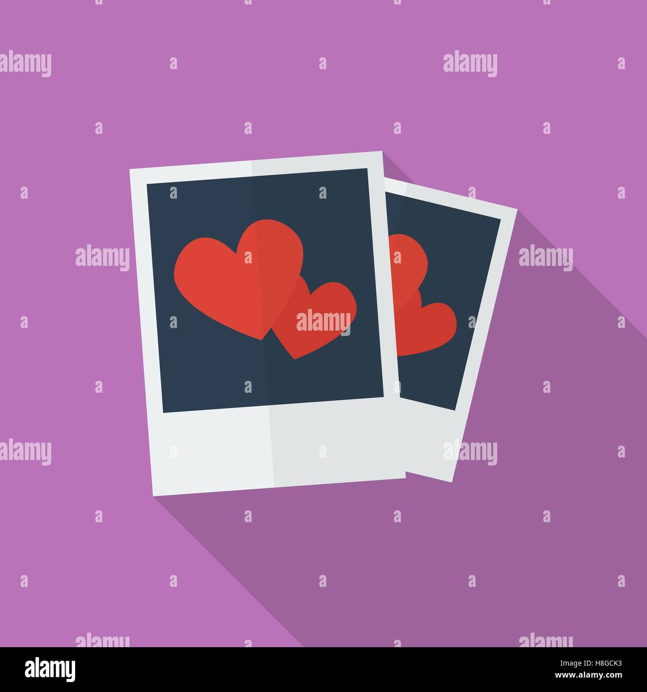 Photos with hearts. Flat style icon - Stock Vector