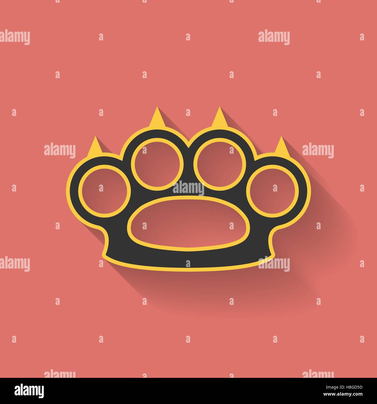 Icon of brass knuckles or knuckle duster. Flat style - Stock Vector