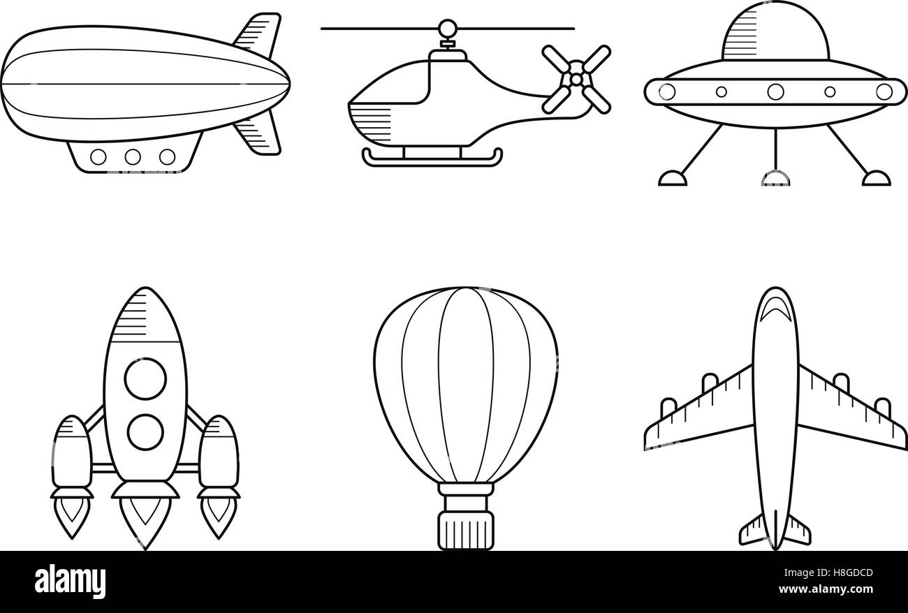 Icon set of aero vehicles. Helicopter plane UFO dirigible aerostat rocket. Line Style Stock Vector