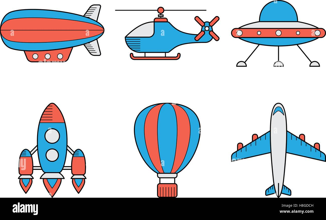 Icon set of aero vehicles. Helicopter plane UFO dirigible aerostat rocket. Line Style - Stock Vector