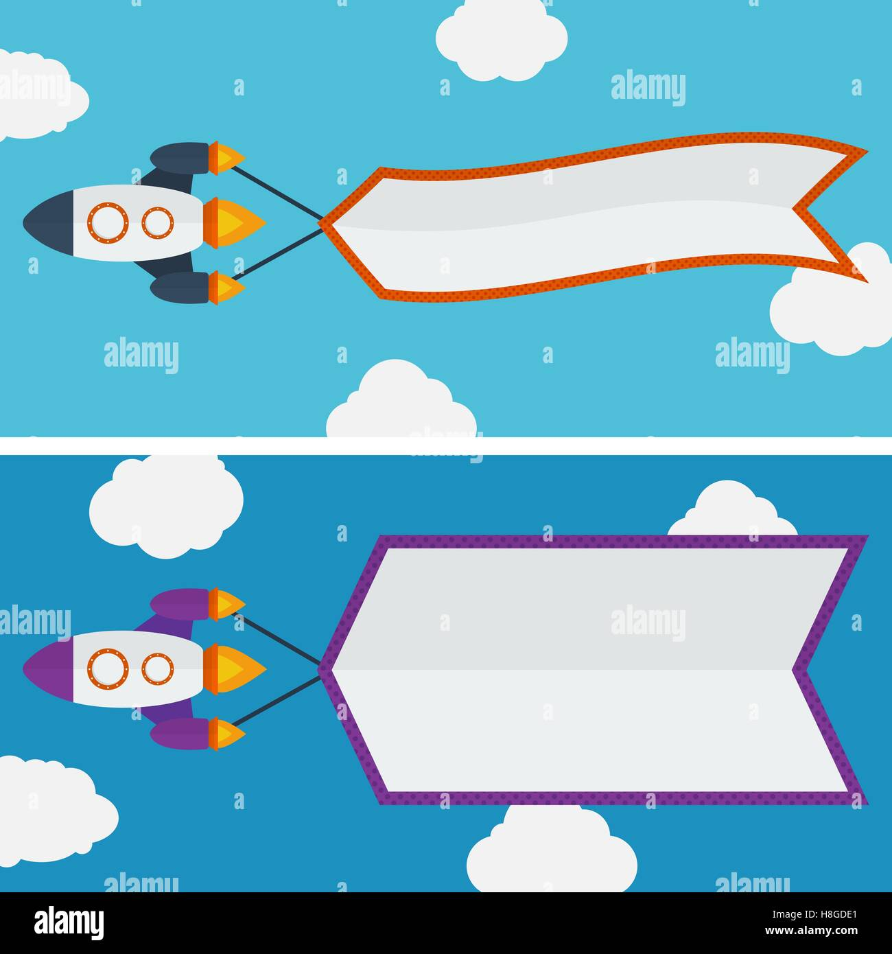 Rocket with banner - Stock Vector