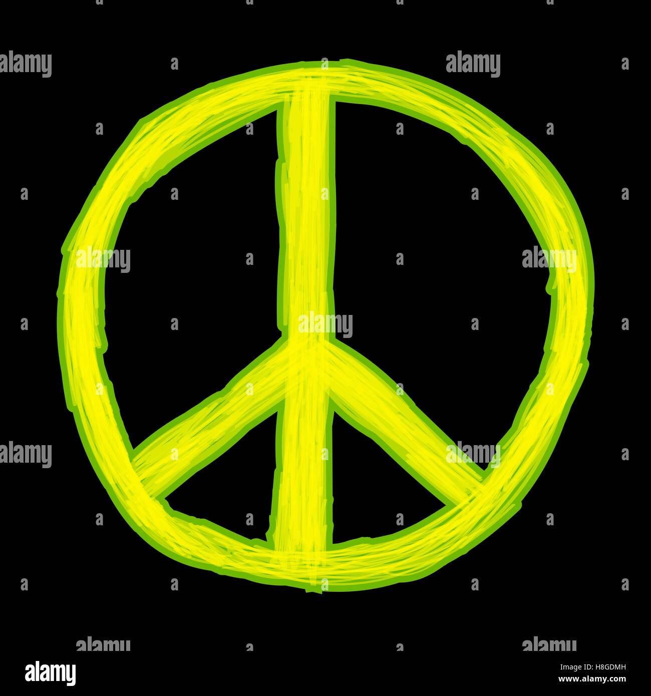 Peace sign. Hippie symbol of peace - Stock Image