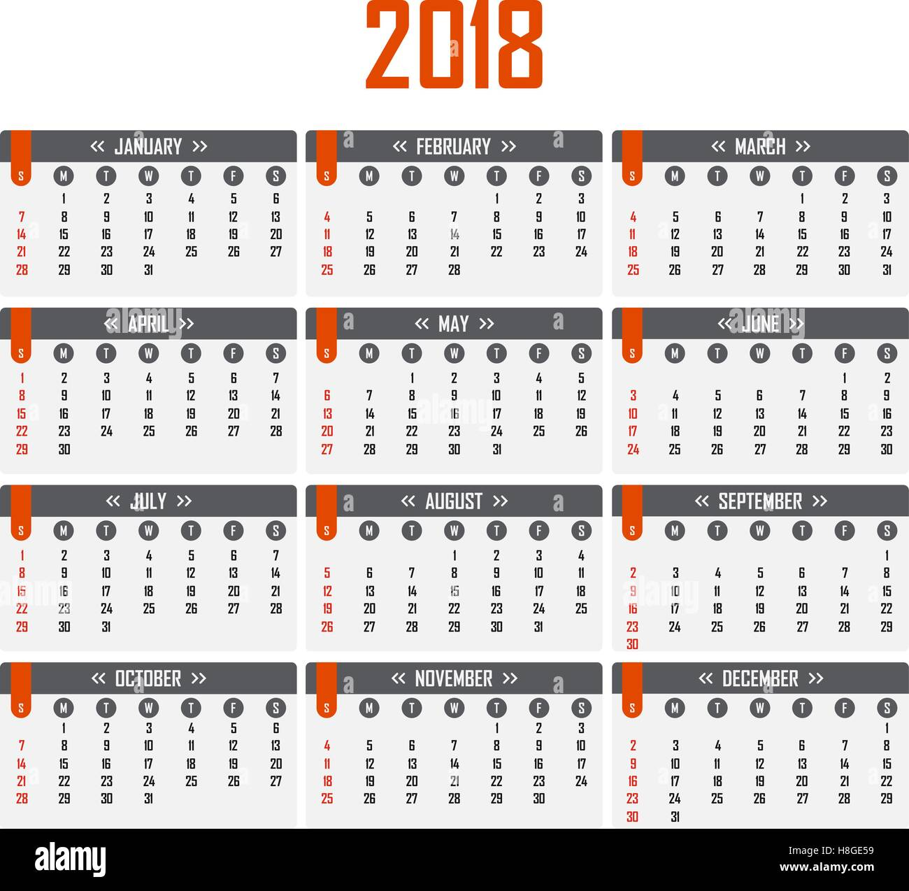 calendar for 2018 week starts on sunday stock vector art