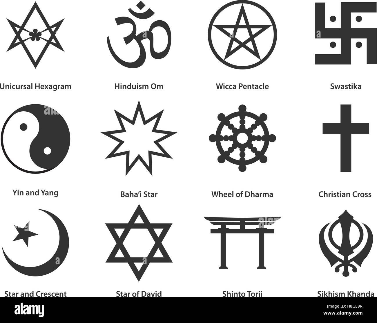 Icon Set Of World Religious Symbols Vector Illustration Stock
