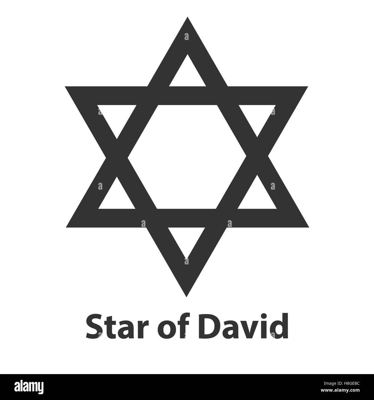 Icon of Star of David symbol. Judaism religion sign - Stock Image