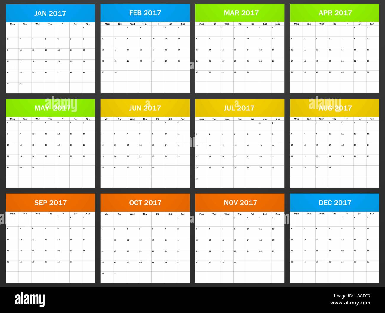 European Planner Blank For 2017 Scheduler Agenda Or Diary Template Week Starts On Monday Vector Illustration