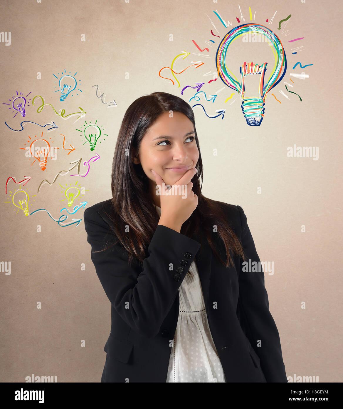 Brilliant idea among many ideas - Stock Image