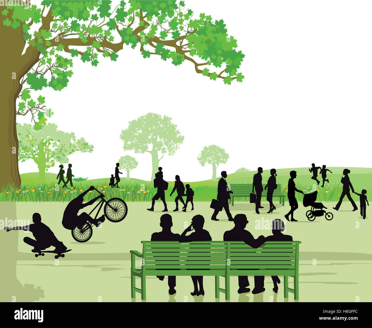 People in the park area - Stock Image
