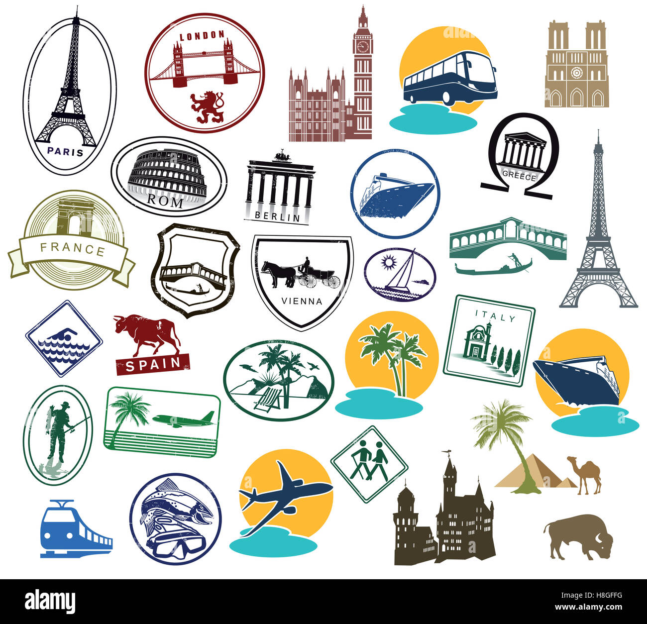 Europe Stickers and Stamps - Stock Image