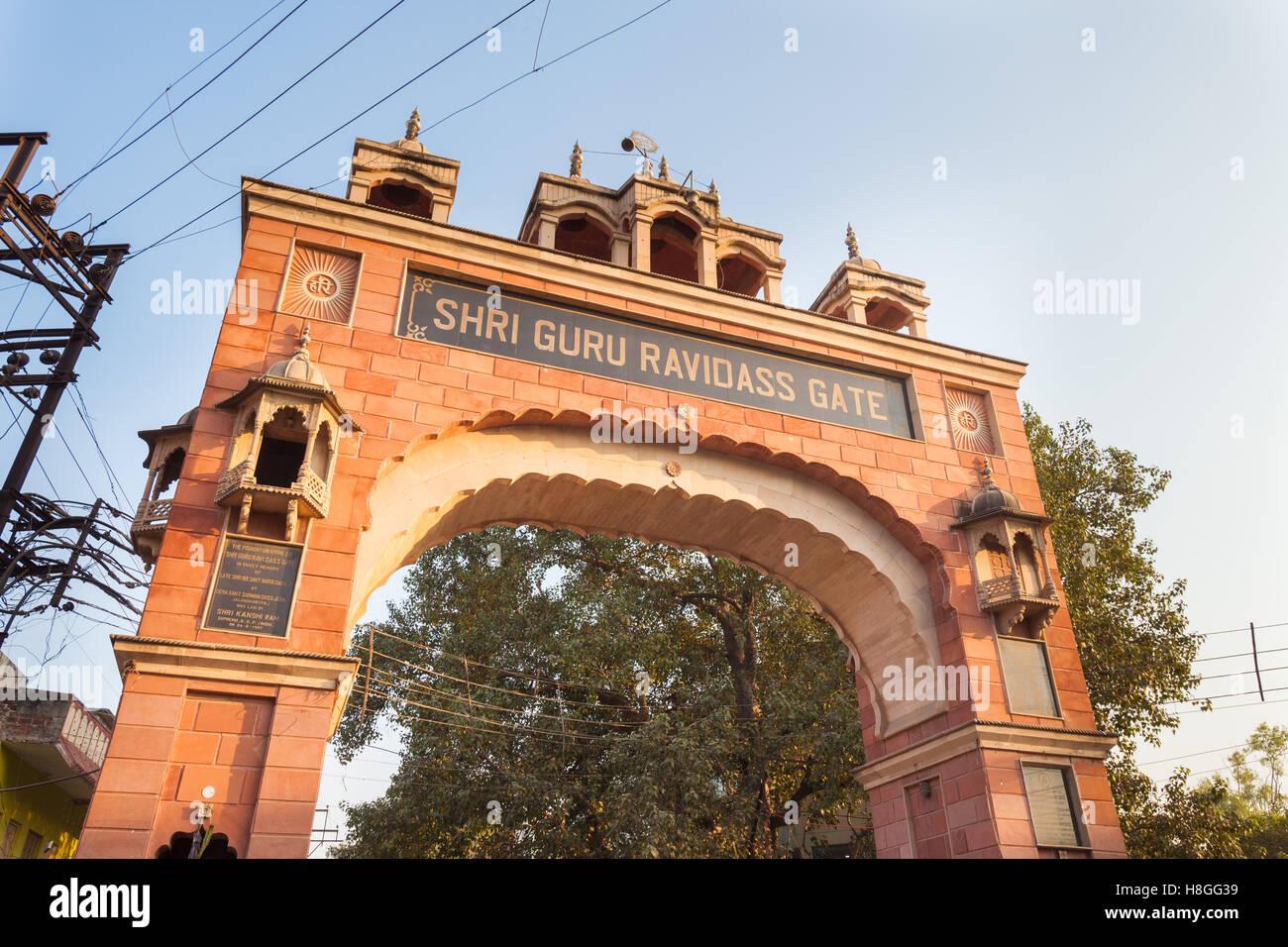 Shri Guru Ravidass Gate, Lanka Crossing, Varanasi, India - Stock Image
