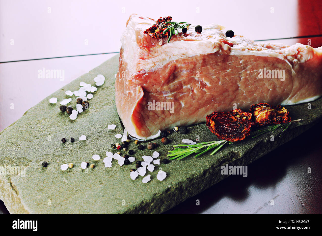 meat raw spices pepper - Stock Image