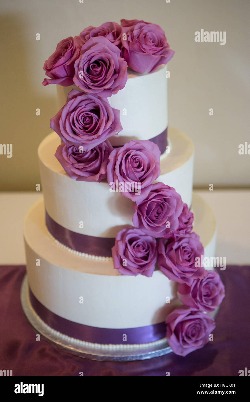 Pink wedding cake stock photos pink wedding cake stock images alamy a multi level white wedding cake on base and pink flowers on top stock image mightylinksfo