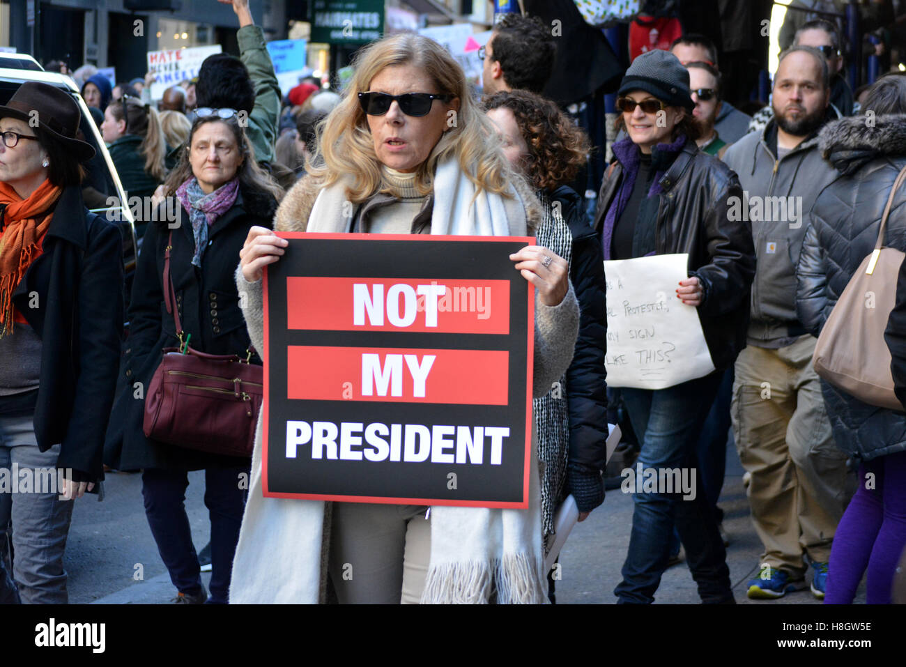 "New York, USA. 12th Nov, 2016. ""Trump is not my President"" rally in New York City. Credit:  Christopher Penler/Alamy Stock Photo"