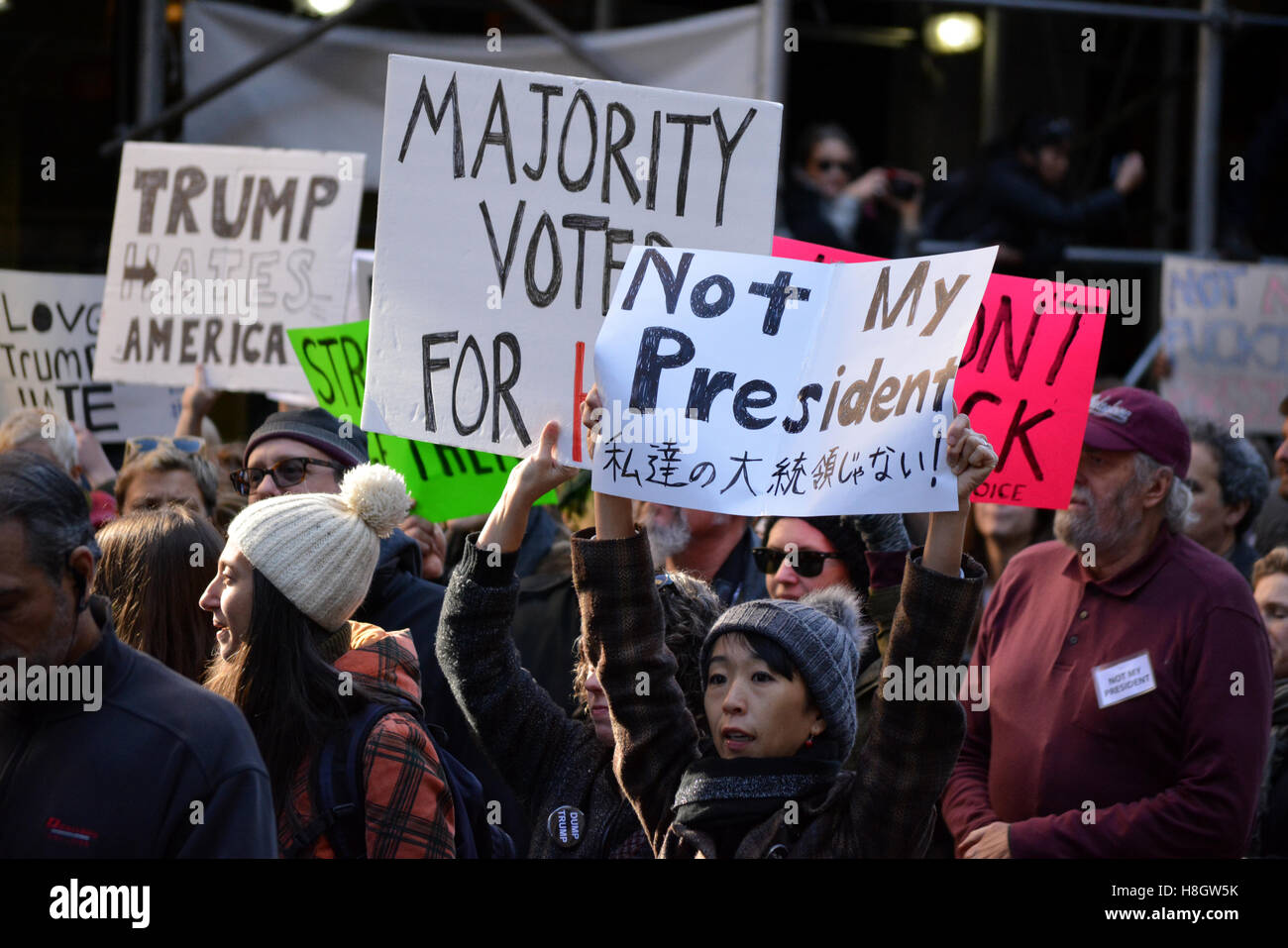 """New York, USA. 12th Nov, 2016. """"Trump is not my Presidnet"""" rally in New York City. Credit:  Christopher Penler/Alamy Stock Photo"""