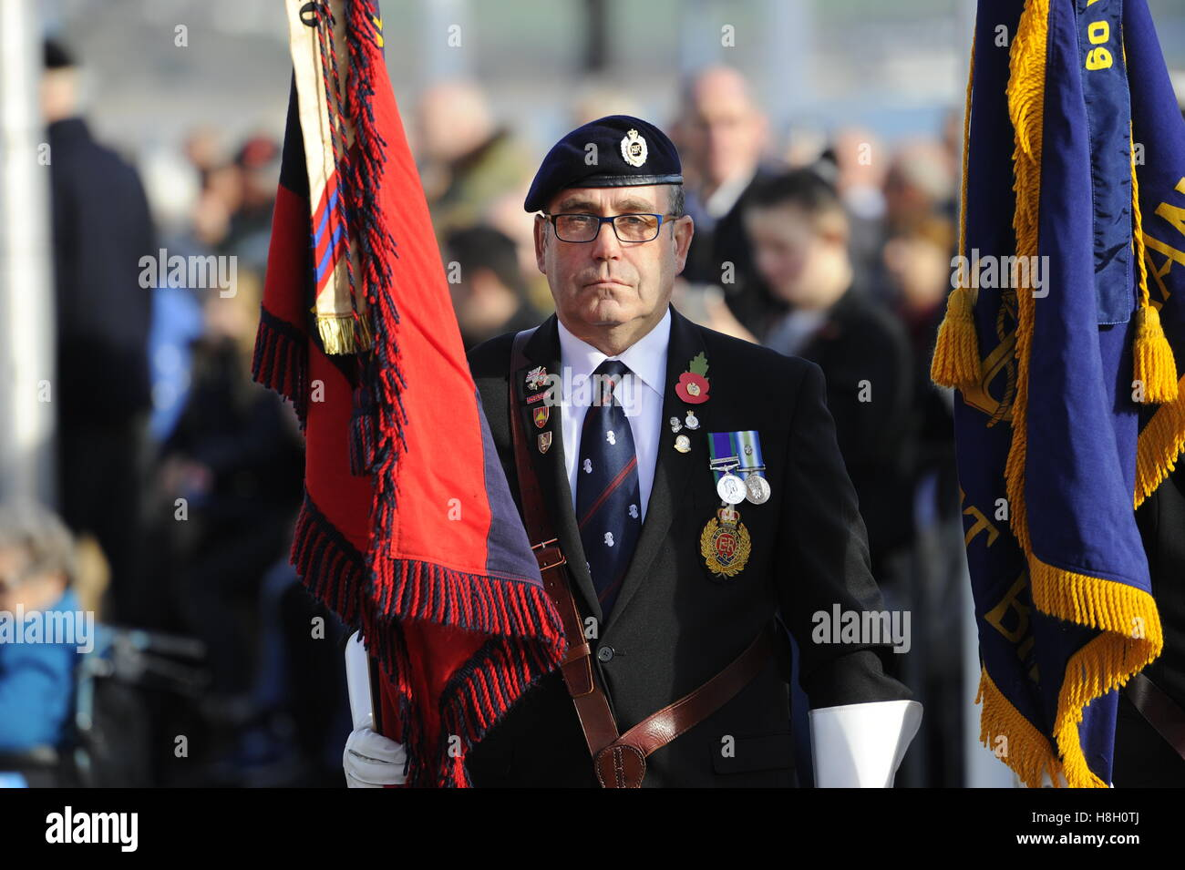 Weymouth, Dorset, UK. 13th November 2016. Standard Bearers during the Remembrance Sunday service and parade at the - Stock Image