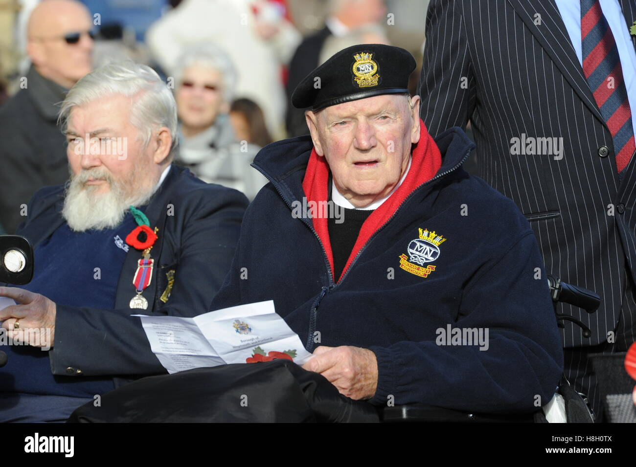 Weymouth, Dorset, UK. 13th November 2016. A Veteran during the Remembrance Sunday service and parade at the Weymouth - Stock Image