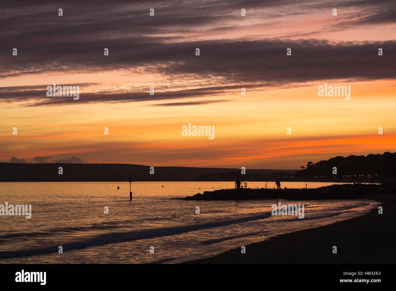 Branksome Chine, Poole, Dorset, UK. 13 November 2016. Stunning sunset looking towards Sandbanks and Poole Credit: - Stock Image