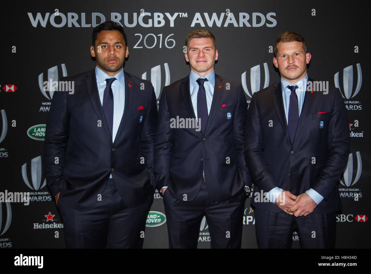 London, UK. 13th November 2016. England rugby players Billy Vunipola, Owen Farrell and Dylan Hartley (England captain) - Stock Image