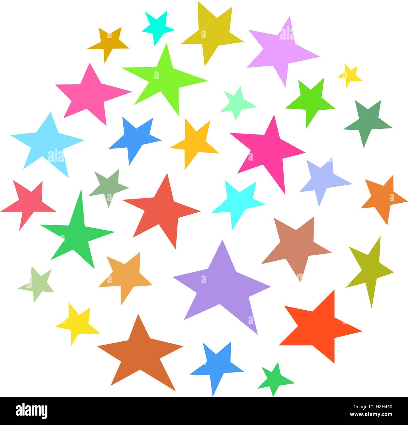 circle collection of irregular stars hand-drawn over white - Stock Vector